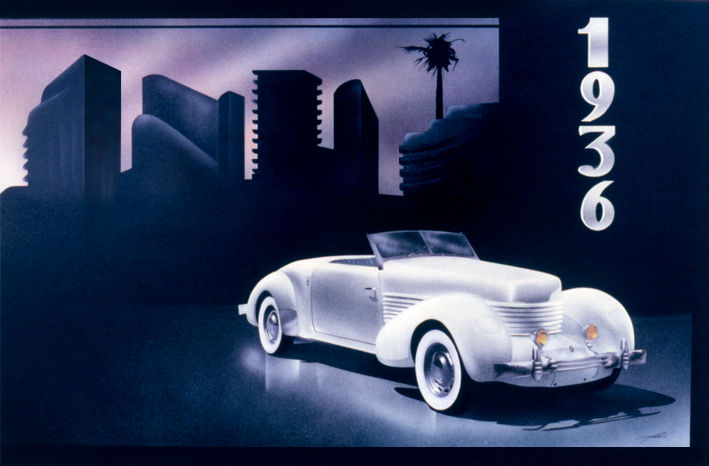 1936 Cord - Airbrush Illustration ArtStudio54