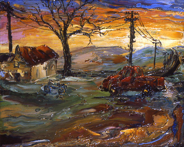 Arthur Robins - Country House With Red Pick-Up Truck World Class Artist