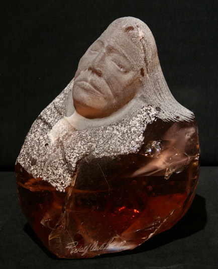 Rudolf Cavalier - Warrior Carved From Slag Glass World Class Artist