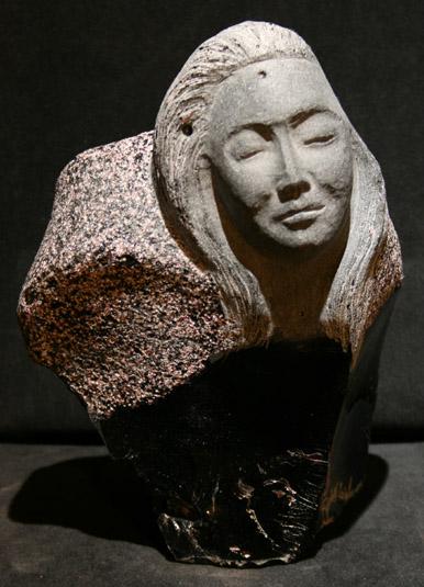 Rudolf Cavalier - Maiden Carved From Burgundy Slag Glass World Class Artist