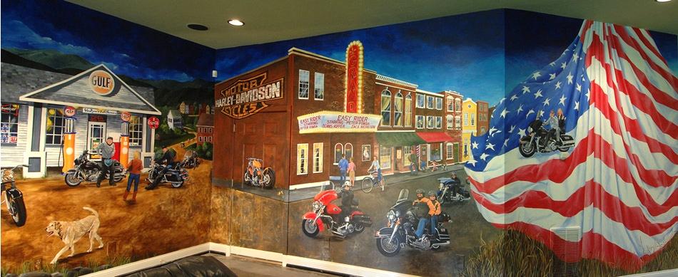 Motorcycle Mural for the Van Dynes